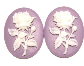 Cab Cabochon Cameo Acrylic Resin Flower Rose White on Purple, 40x30mm, 5 Qty