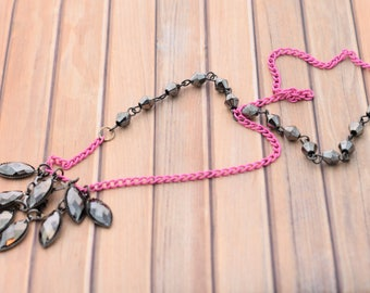 Black Gems and Hot Pink Chain Necklace