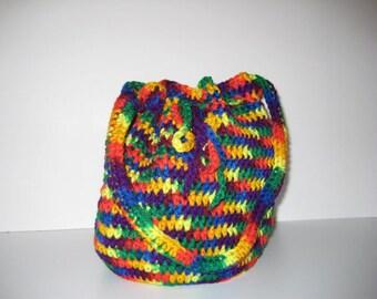 Crocheted Rainbow Tote Bag, Toys, Kid's Purse, Drawstring Bag