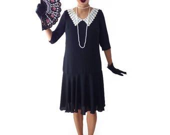 Retro Flapper Dress,  Great Gatsby Dress, Flapper Costume, 1920s Dress, 20s Dress, Roaring 20s Dress, Downton Abbey Dress, Black Chiffon