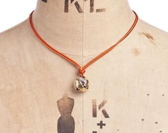 Brass orb necklace
