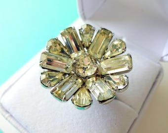 1940's Eisenberg Rhinestone and Sterling Flower Cocktail Ring