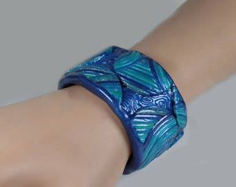 Polymer clay cuff bracelet, abstract design, statement, blue, turquoise