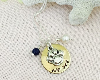 WE ARE Penn State graduation sterling silver and brass Handstamped necklace