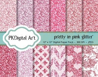 "Pink Glitter Digital Paper - ""Pretty in Pink Glitter Paper""  Scrapbook Paper Backgrounds Design Projects Crafting Supplies"