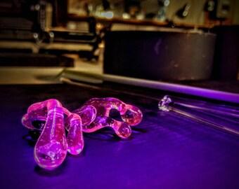 Lucy Pink UV Blacklight Reactive Glass w/ Opal Brim Drip Hat Pin™
