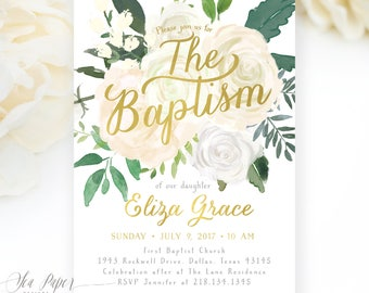 Baptism Invitation Girl Floral, Baptism Invite for Girl, Girl Baptism Invitation, White Rose Flowers & Greenery, Printed Printable - Eliza