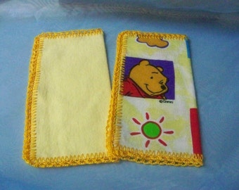Kids handkerchief, Hanky, Hankie, Winnie the Pooh, Soft, Flannel, Flanky, Flankie, Yellow, Hand crochet, Ready to ship. Set of 2