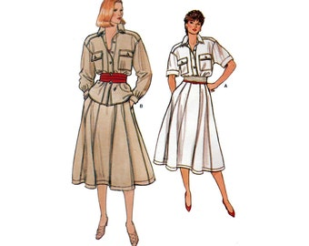 """Women's Shirt and Flared Gored Skirt Sewing Pattern Misses Size 6-8-10 Waist 23-24-25"""" Uncut Vogue 8910"""