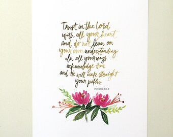 Proverbs 3:5-6 Hand Lettered Art Print