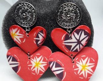 Red Hearts Earrings (Paper healing)