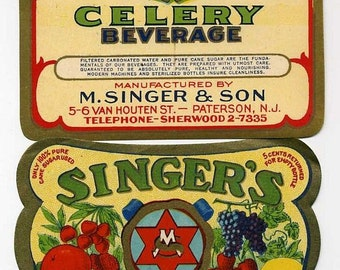 Two Vintage Beverage Labels - Singer's Beverages