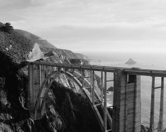 Black and White Bixby Bridge, Big Sur, California Mountains, Pacific Ocean, Landscape, Central Coast, California