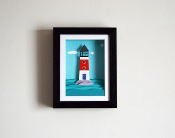 Lighthouse Print - Framed - Papercut print - Ocean Print - Light House Illustration - Wall art - Home decor - Sea Print  - 3D - art