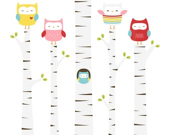 Treetop Owls Digital Clipart Clip Art Illustrations - instant download - limited commercial use ok