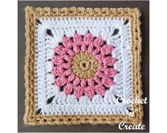 Crochet Blanket Afghan Square Crochet Pattern (DOWNLOAD) CNC109