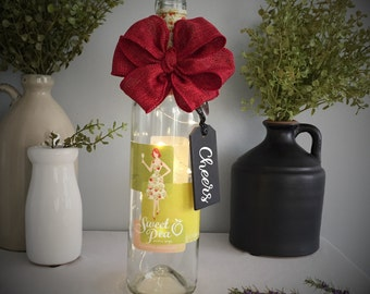 Wine Bottle Light/Battery Operated/Sweet Pea/Apple Wine/Country Red/Cheers/Eat Drink Be Merry/Chic Decor/Wine Lover Gift/Mother's Day Gift
