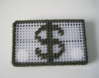 Dollar Sign Business or Gift Card Holder, Plastic Canvas