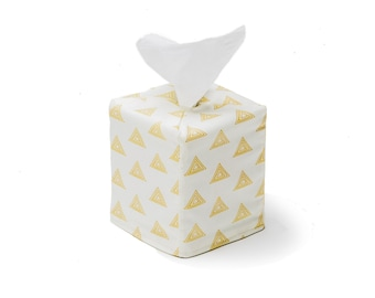 Ivory and Gold Tissue Box Cover, Tissue Box, Tissue Box Holder, Kleenex Box Cover, Kleenex Cover, Kleenex Box Holder,Square Tissue Box Cover
