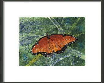 Mother's Day Gift Idea Instant Print Download 5x7 Print from Watercolor Batik Orange Queen Butterfly for framing
