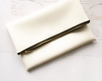 Vegan White Leather Foldover Clutch - Gift for her, Birthday, Anniversary, Bridesmaid