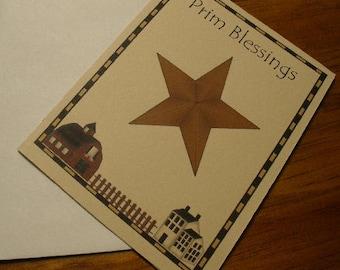 Primitive Blessings Farm Scene n Barn Star Note Cards ~ N42