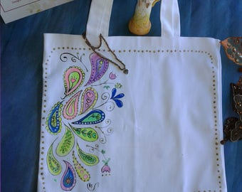 Books Canvas Tote Bag - Neon Paisley