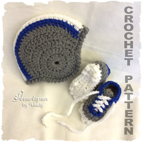 Crochet Pattern To Make A Football Helmet Baby Hat With Optional