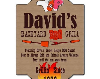 Personalized Backyard BBQ Grill Plaque