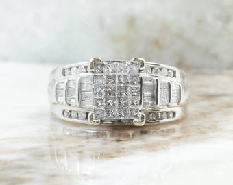 14K White Gold 1.00ctw Diamond Cluster and Side Accented Engagement Ring