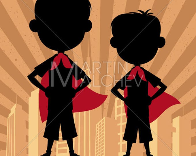 Super Kids Boys - Vector Cartoon Illustration. superhero, hero, child, kid, boy, brother, friend, cousin, sibling, young, little, silhouette