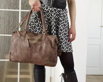 Washed Leather Handbag, Washed Leather Bag, Washed Leather Cross-body Bag,  Washed Leather Handbag, Washed Bag - antique brown