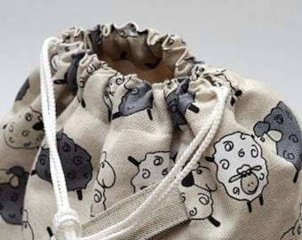 LARGE Drawstring Knitting Project Bag. Sheep. KnitterBag design. Yarn organizer. Crochet project organizer bag. WIP bag. Gift for knitter