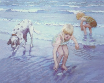 Boy and Girl and dog on the beach print, beach scene, two children, seashore, brother and sister, ocean, blue, collecting shells, shore