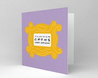 Friends tv show card etsy friends theme card birthday happy fun chums lyrics song blank card cs1836 bookmarktalkfo Images