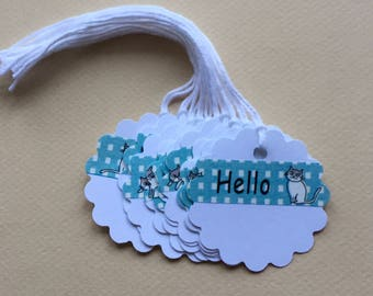 Hello Cat Gift Tags, Kitty Birthday Tags, Kitten Gift Wrap, Set of 10 Gift Tags with String, Round Scalloped Gift Tags, Scalloped gift tags