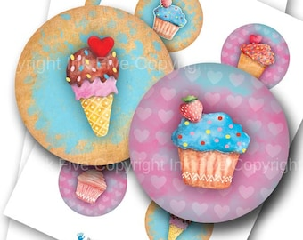 Sweet Muffins 2.5 inch circles Digital Collage Sheet for pocket mirrors, party decors. Big rounds printables. Cupcakes digital download.