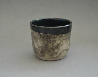 Black bubble-glazed cup- Handmade stoneware ceramics