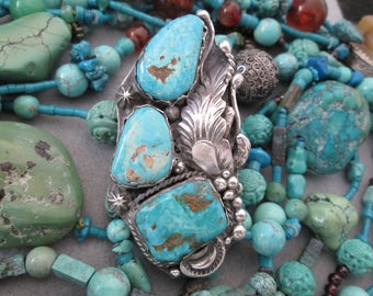 "1 of a Kind>Massive Navajo Genuine TYRONE TURQUOISE and Sterling Silver Ring>2 7/8"" long>3 large stones>Exquisite Silver Detailing> -JNR038"