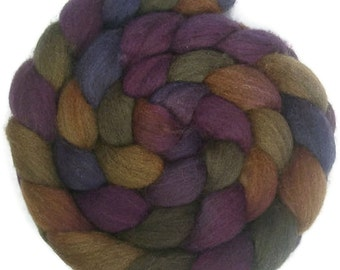 Handpainted Dark BFL Wool Roving - 4 oz. CROCUS - Spinning Fiber