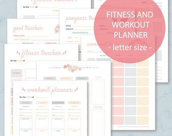 Fitness planner, Workout Planner, Health Planner, Fitness Journal,  Goal tracker printable, Weight loss planner, Letter size, A4 (9)