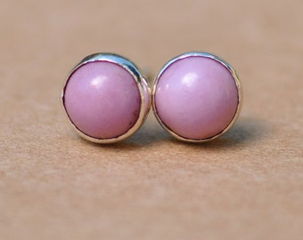 Phosphosiderite Earrings handmade with sterling silver studs, 6 mm lilac gemstone cabochons perfect for gifts and birthdays, pretty stylish