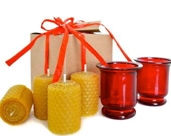 Beeswax Candle Gift Set - Red
