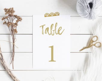Elegant wedding table number tags - DIY printable table numbers, 4x6 table numbers 1-30, Instant download, Print ready table numbers.