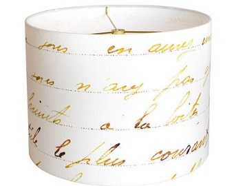 13 Inch - READY TO SHIP - French Script Linen Lamp Shade - Bronze Gold and White Lampshade - Drum Lamp Shade