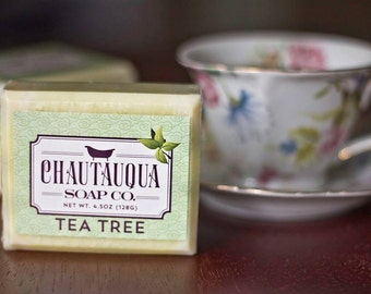 Tea Tree Bar Soap - Made with Organic Ingredients and Essential Oils - Chautauqua Soap Company - CHQ
