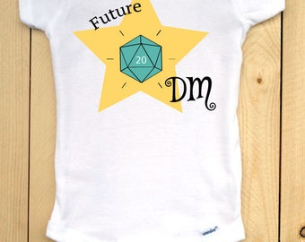 Dungeons and Dragons infant onesie with teal d20/ Future DM/ RPG baby outfit/ baby shower gift for gamers/ role playing games