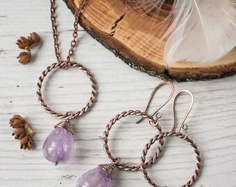 Wire wrapped amethyst earrings pendant Dangle earrings Wire wrapped jewelry Boho earrings for wife Amethyst necklaces for women Artisan OOAK