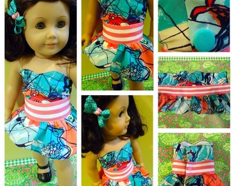 "American Girl strapless bubble dress in ""X marks the spot"" 100% authentic Lilly Pulitzer fabric"