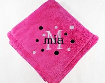 Hot Pink Personalized Micro Fleece Baby Blanket
